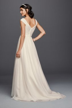 Simple Long A-line WG3787 Wedding Gowns with Beaded Belt