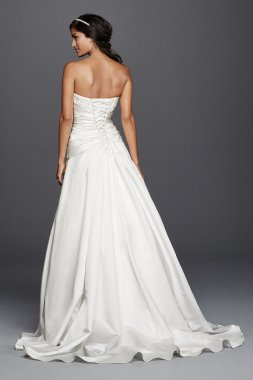 Strapless Sweetheart Neckline Satin Beaded Lace Applique A-Line Bridal Dress Style WG3789