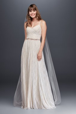 Classic Spaghetti Straps Long Soft Lace Wedding Dress with Pleated Bodice WG3823