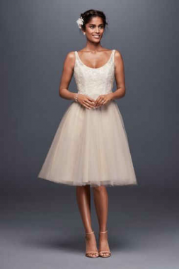 New Style Short Above Knee Length Scoop Neckline Tulle and Lace Bridal Gown WG3825