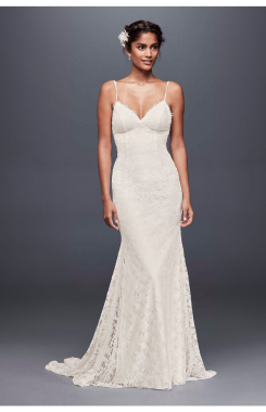 Sexy Low Back Long Soft Lace Wedding Dress with Spaghetti Straps WG3827