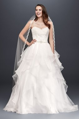 WG3830 Style Beaded Waist Floor Length Sweetheart Neckline Lace and Organza Wedding Ball Gown