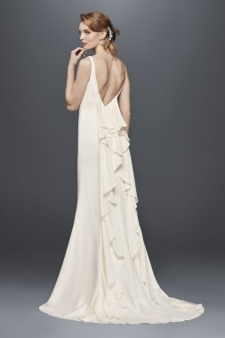 Simple New Style High-Neck Ruffled Back Crepe Wedding Dresses WG3833