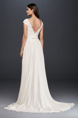 New Elegant Cap Sleeve Long A-line Lace and Chiffon Bridal Gown Style WG3851