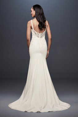 Crepe Mermaid Wedding Dress with Metallic Embroide WG3875