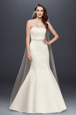 Strapless Trumpet Wedding Dress With Ribbon Waist Style WG9871