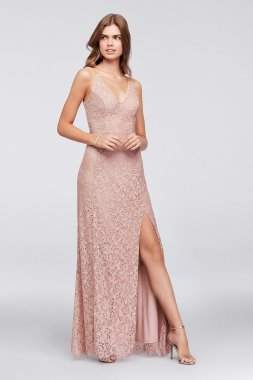 New Style Princess-Seam Crochet Lace V-Neck Sheath Gown Speechless