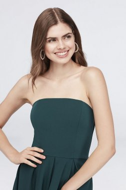 Scuba Crepe Strapless High-Low Sheath Dress X38501DNE