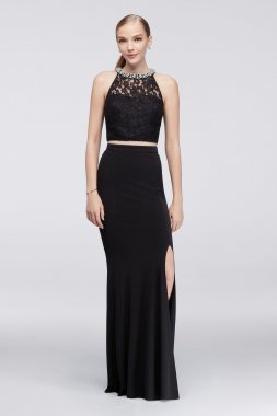 X90811H502 Style Two Pieces Crystal Embellished Neckline Dress