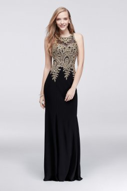 Charming Long Column Gold-Embroidered Jersey Dress with Illusion Back Style XS9255