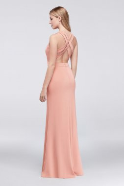 Fashionable Long XS9573 Pattern Long V-neck Satin Dresses