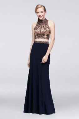 Shinning Deco-Beaded Two Pieces XS9630 Prom Dress