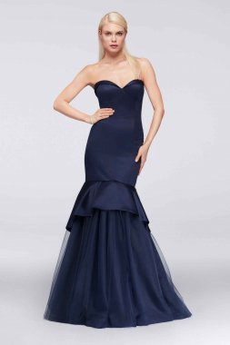 ZP281697 Style Strapless Sweetheart Neck Long Satin Mermaid Gown with Tulle Skirt