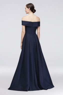 Embellished Waist Off-the-Shoulder Satin Ball Gown ZP281819