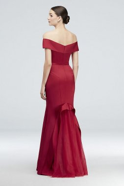 Off-the-Shoulder Satin Gown with Tulle Flounce ZP281822