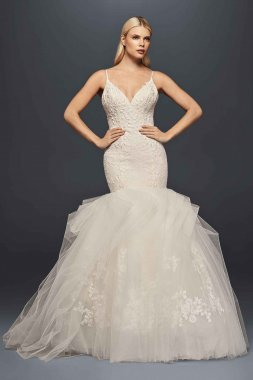 Spaghetti Straps Plunging Trumpet ZP341708 Wedding Dress with Cartridge-pleated Skirt