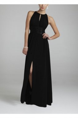 Jersey Dress with Keyhole Neck and Beaded Waist Style 9455