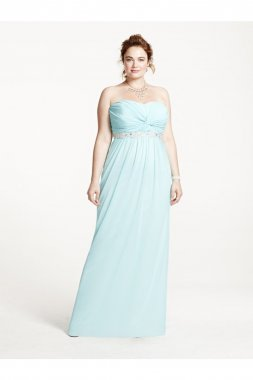 Strapless Prom Dress with Ruched Bust and Beading Style 8420DW3W