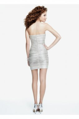 Strapless Metallic Foil Ruched Dress Style 201C61090