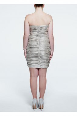 Strapless Metallic Foil Ruched Dress Style 201C61090W