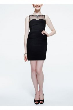 Sleevless Jersey Dress with Beaded Illusion Neck Style 211S41550