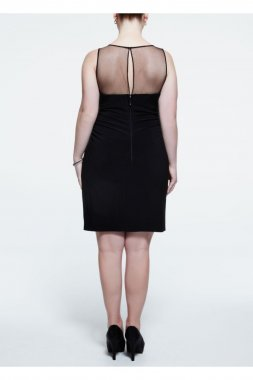 Sleevless Jersey Dress with Beaded Illusion Neck Style 211S41550W