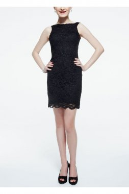 Sleeveless Glitter Lace Dress with Ribbon Tie Back Style 11826