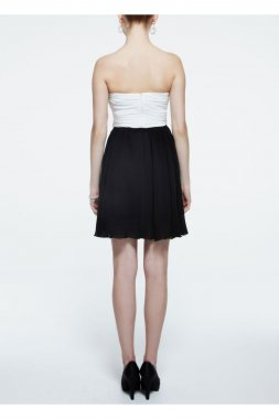 Strapless Chiffon Color Block Dress with Sequin Style 9560KC5D