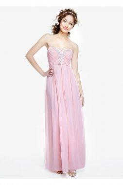 Strapless Chiffon Dress with Applique Detail Style 0577MX4B