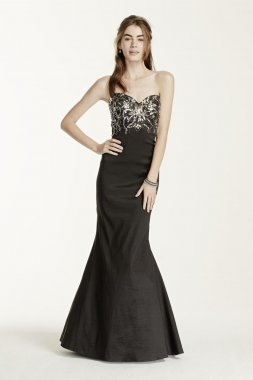 Beaded Strapless Stretch Taffeta Gown Style 289DB