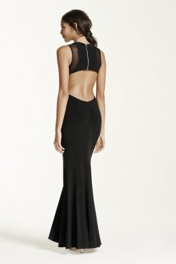 Sleeveless Illusion Panel Dress with Open Back Style A14809