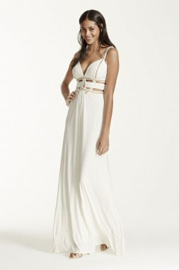 Sleeveless Dress with Metallic Detail and Cut Outs Style A15808