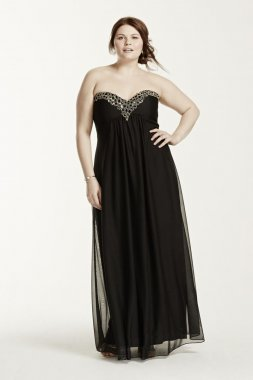 Strapless Empire Waist Dress with Beaded Bodice Style 644108IW