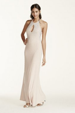 Beaded Keyhole Halter Dress with Open Back Style A15731