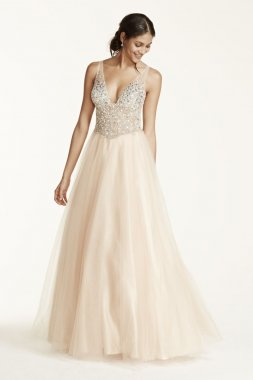 Sleeveless Fully Beaded Bodice Ball Gown Style DB07