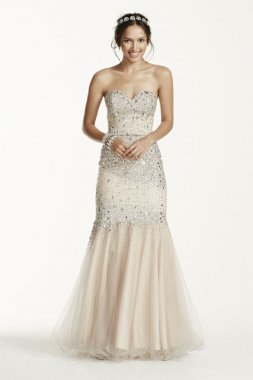 Strapless All Over Beaded Bodice Dress Style P3123