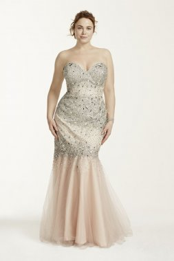 Strapless All Over Beaded Bodice Dress Style P3123W