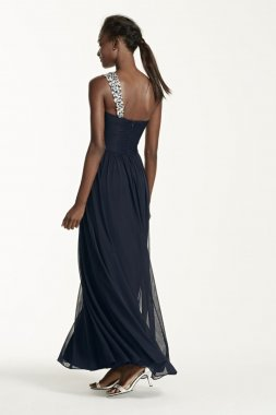 One Shoulder Beaded Long Jersey Dress Style XS5612