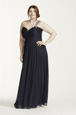 One Shoulder Beaded Long Jersey Dress Style XS5612W