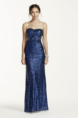 Strapless All Over Sequin Dress with Illusion Back Style 194A