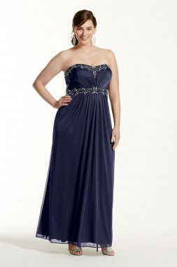 Beaded Strapless Long Mesh Dress Style 56765W