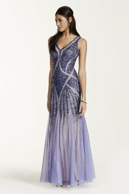 Heavily Beaded Open Back Tank Dress with Godets Style 061897200