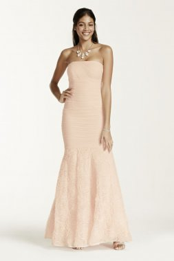 Strapless 3D Rosette Fit and Flare Dress Style A16165