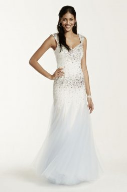 Cap Sleeve Beaded Fit and Flare Style 1162