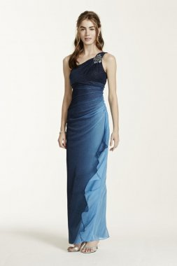 Stone Embellished One Shoulder Ombre Glitter Dress Style 54670