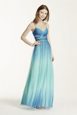 Spaghetti Strap Cutout Ombre Ball Gown Style 211S68480