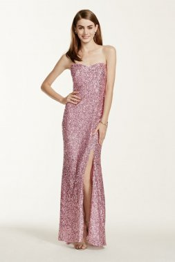 Strapless All Over Sequin Dress Style 308