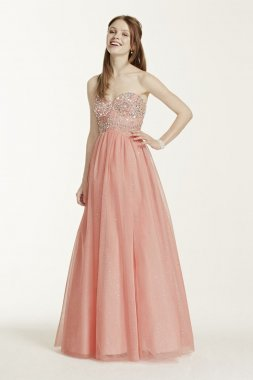 Strapless Hand Beaded Bodice Glitter Tulle Gown Style 8145NR5C