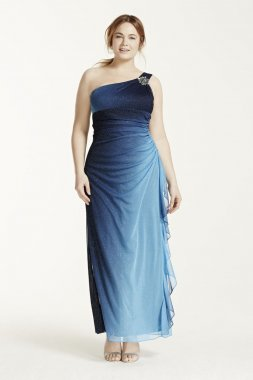 Stone Embellished One Shoulder Ombre Glitter Dress Style 54670W