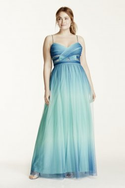 Spaghetti Strap Cutout Ombre Ball Gown Style 211S68480W